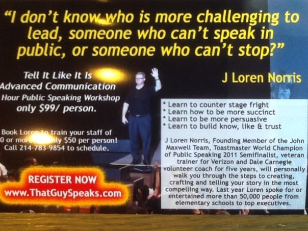 Tell It Like It Is, public speaking workshop by J Loren Norris.